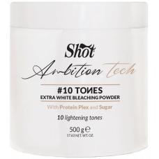 Экстрабелый обесцвечивающий порошок для волос на 10 тонов Shot Ambition Tech 10 Tones Extra White Bleaching Powder, 500 г